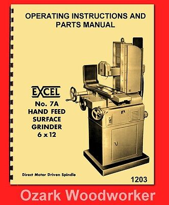 Covel Excel 7a 6 X 12 Direct Drive Surface Grinder Operator Parts Manual 1203