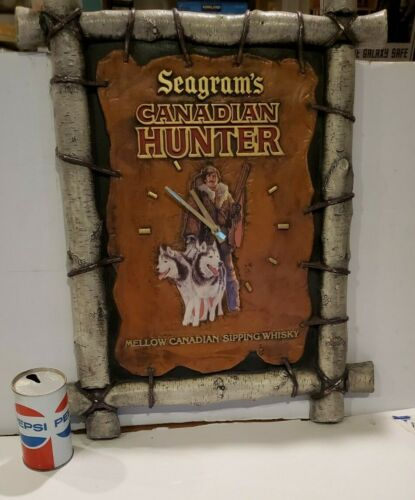 Primitive Style Whiskey Advertisement . Clock/Sign Seagram's Canadian Hunter