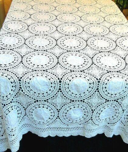 Vintage Handmade Tablecloth Crochet Lace Floral 64x102 Rectangle White Cotton