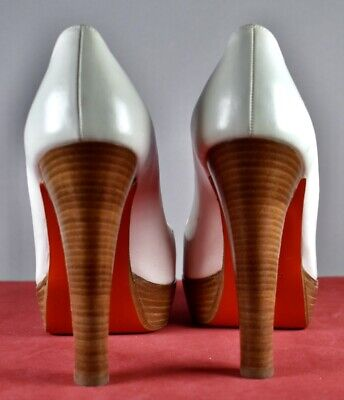 CHRISTIAN LOUBOUTIN Cross Paris Ivory Leather Heels Women's Sandal Shoes Size 10