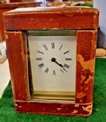 Antique French 8 Day Brass Carriage Clock in Case with Key  Working Order