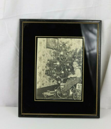 Antique Actual Christmas Photograph of Boy on Tricycle and Toys Framed