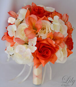 17pcs Wedding Bridal Bouquet Silk Flower Decoration Package CORAL IVORY ORANGE