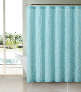 Aqua Aquamarine Turquoise Blue Caleb Embroidered Leaves Fabric Shower Curtain