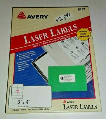 New Avery 5163 Premium Quality Shipping Labels 2x4 White 1000 Labels 100 Sheets
