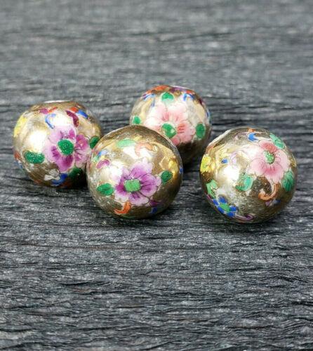 Vintage Unusual Porcelain Multicolor Flower Design Gold Beads 14mm 2Pcs