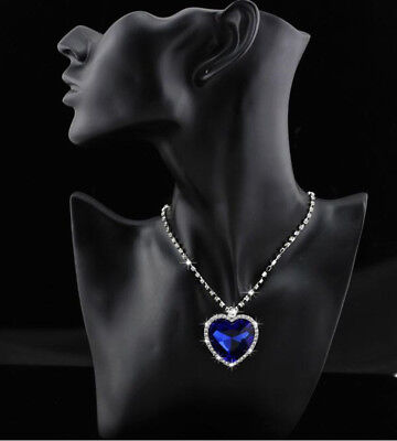 Titanic Heart Of The Ocean Sapphire Blue CZ Crystal Necklace Pendants Xmas Gift