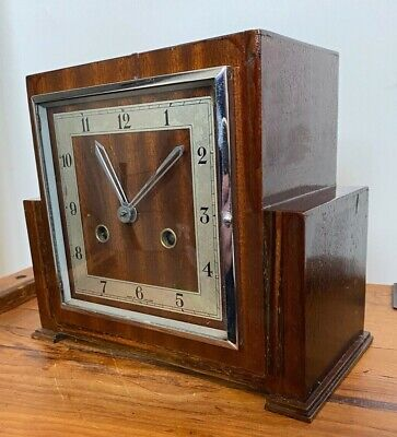 ANTIQUE ART DECO GORGEOUS STYLISED RETRO WOODEN INLAID CHIMING MANTEL CLOCK