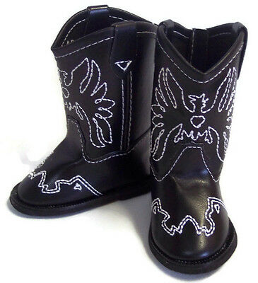 Black w/Eagle Accent Cowboy Boot Shoes for 18 inch American