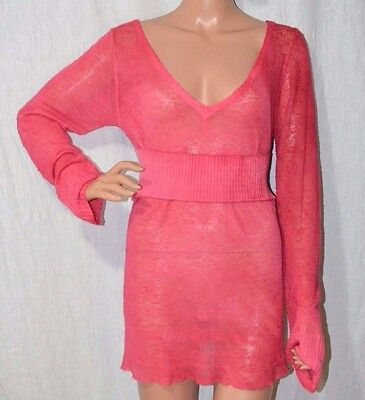DIESEL Coral Pink V-Neck Sweater sz L Embroidered Accent Thin-Knit Top NWT -