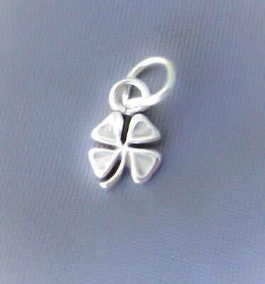 Four Leaf Clover Shamrock Charm (Sterling Silver Small Tiny Shamrock Four Leaf Clover Charm Good Lucky, Mini, USA )