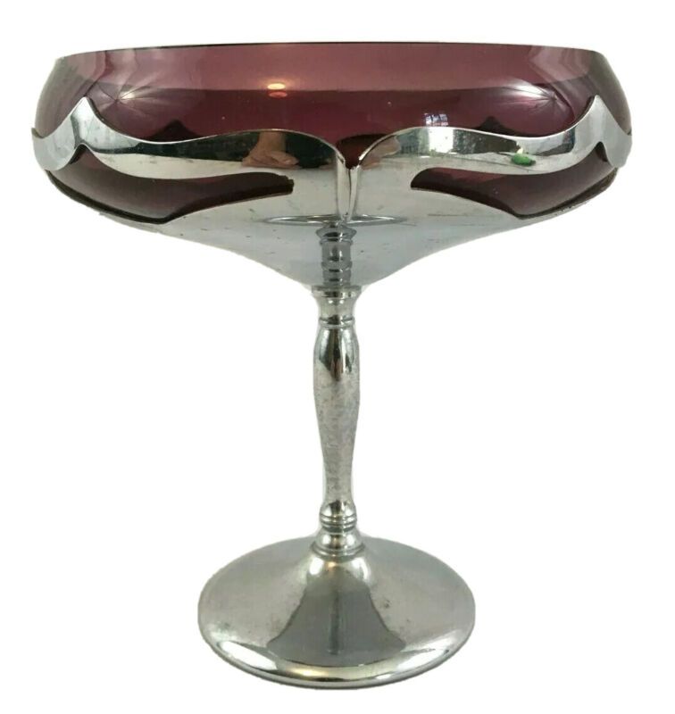 Art Deco FARBER BROTHERS Amethyst Glass and Chrome Pedestal Comport
