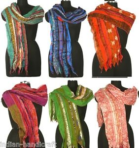 10 Vintage Silk Sari Recycled Scarves Stoles Patchwork scarf lot Wholesale SC6