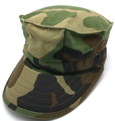 Camouflage Military Style Cap (MILITARY UTILITY WOODLAND CAMOUFLAGE Type II cadet style fitted cap / hat -sz XS)
