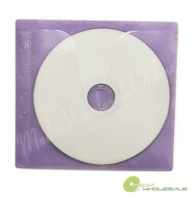 500 Non Woven Cd Dvd Purple Color Double Sided Plastic Sleeve - Hold 1000 Discs