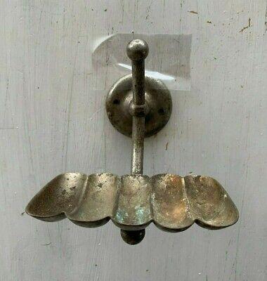 Antique Nickel Brass Soap Dish Holder Scalloped Wall Mount Vtg Bathroom  155-20J