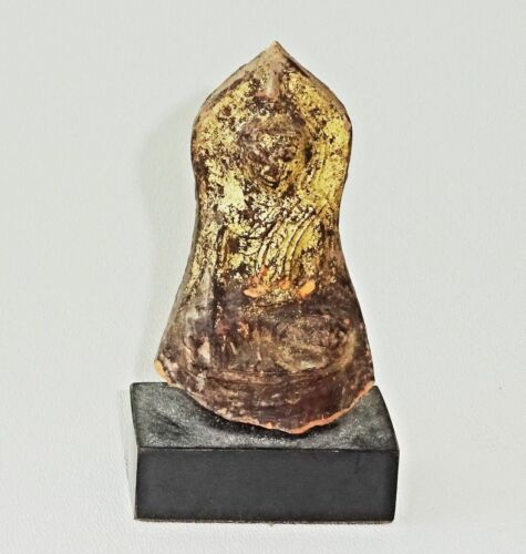 14C/15C Burmese Shan Gilt Pottery Buddha in Earth Touch Pose on a Stand (Mil)
