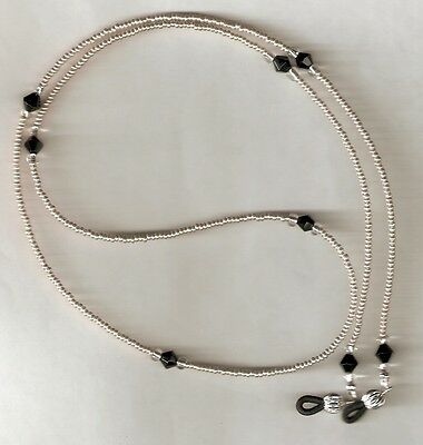"Eyeglass Chain~Silver & Black~28""~6mm Crystal Accents~Fancy Ends~Buy 3 SHIP FREE"
