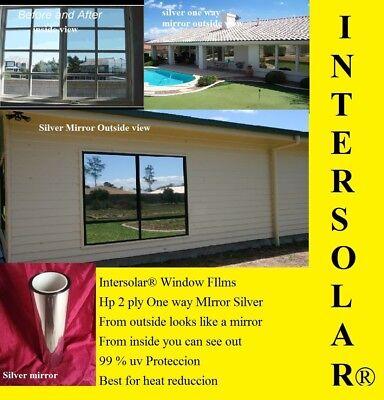 "Mirror Reflective Tint Silver 5% 24""x 20 Feet Window Film One Way Intersolar®usa"