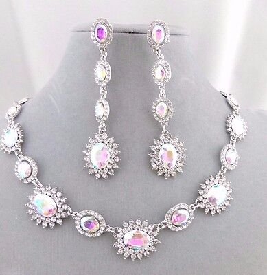 Silver With AB Crystal Rhinestones Necklace Earrings Set Fashion Jewelry NEW