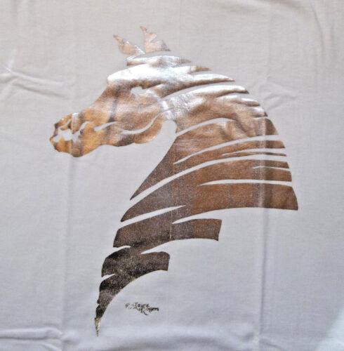 "Silver Foil Horse Silhouette T-shirt  "" White "" LG ( 42 ~ 44 )"