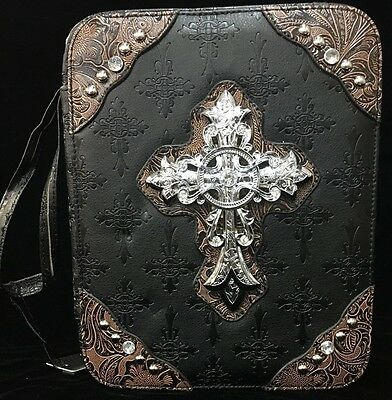 BLACK&BROWN WESTERN BIBLE COVER BIBLE COVER FAUX LEATHER