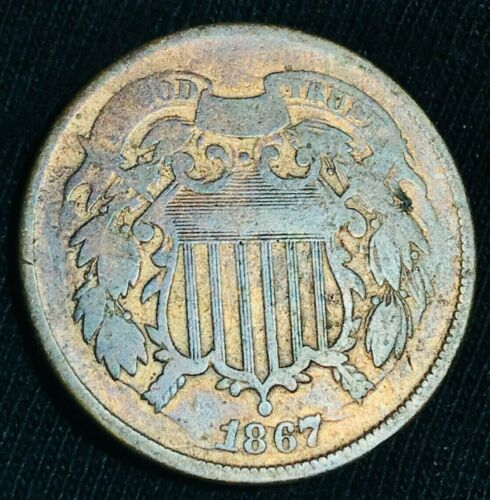 1867 US Two Cent Piece 2C DIE CRACKS EVERYWHERE War Date US Copper Coin CC2359