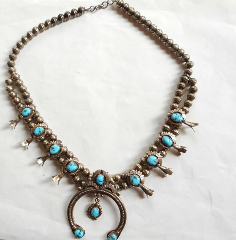 Antique Silver & Turquoise NAVAJO Traditional Squash Blossom Necklace SUPER.