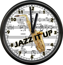 Jazz Musician Saxophone Piano Bar Music Room Lounge Music Notes Sign Wall Clock
