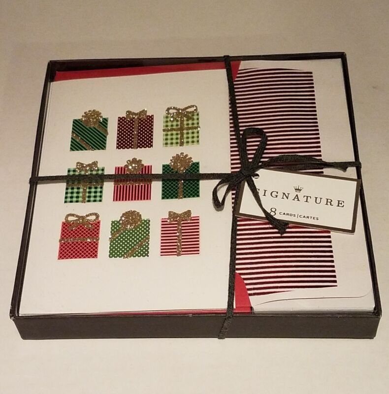 Signature Hallmark Christmas Holiday Box 8 Cards Presents XSJ4212