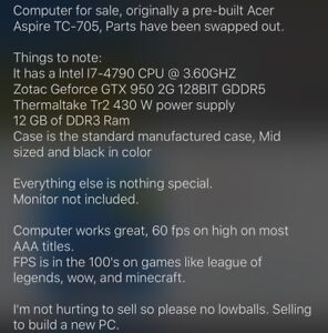 Mid level gaming pc for sale