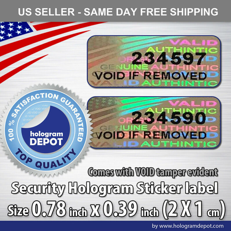 100 Security hologram stickers numbered anti-counterfeit label seals void