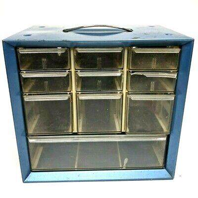 Blue Akro Mils 10 Drawer Storage Cabinet Tool Small Parts Bin Vtg Metal Handle