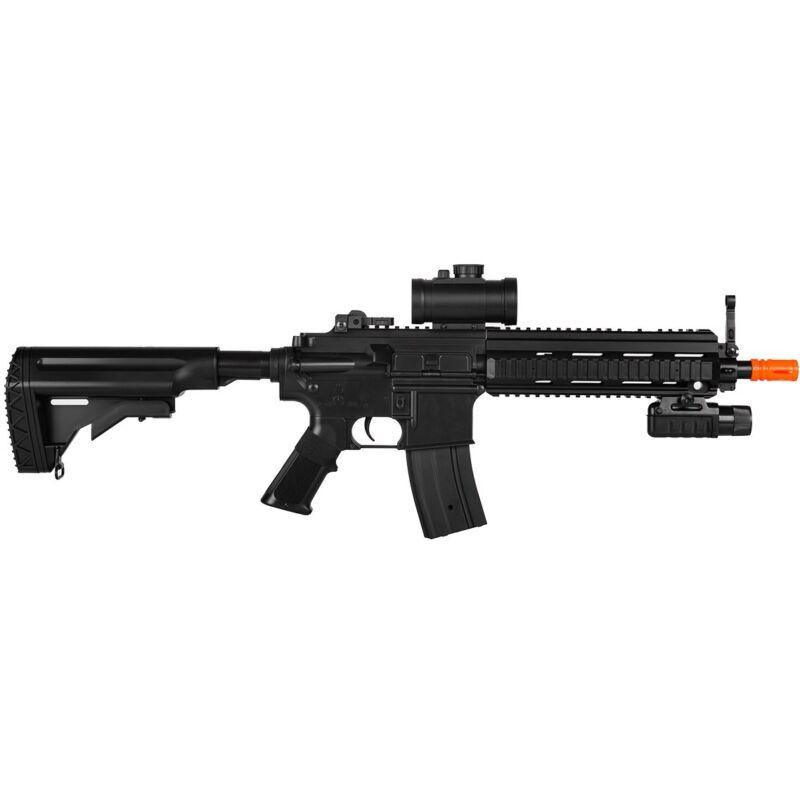 DOUBLE EAGLE M4 FULL AUTO ELECTRIC AEG AIRSOFT GUN RIFLE FLASHLIGHT LASER 6mm BB