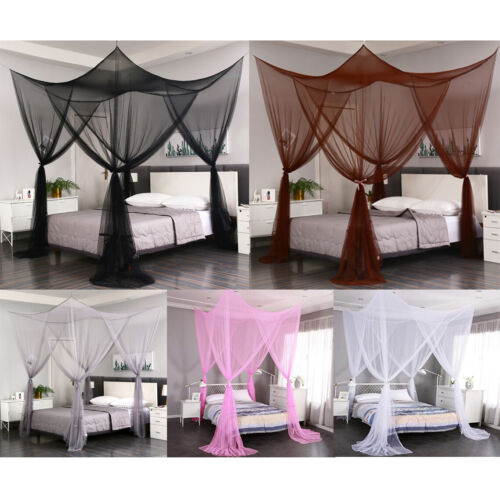 4 corners post mosquito net curtain bed