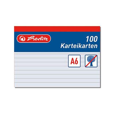 100 Karteikarte Karteikarten A6 liniert weiss Herlitz