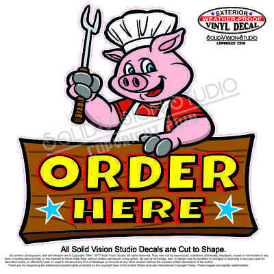 Order Here Bbq Pig Chef Barbecue Pork Concession Trailer Food Truck Sign Decal