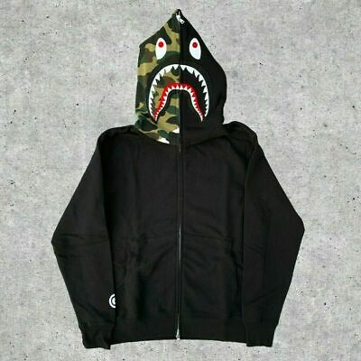 A Bathing Ape BAPE Camo Shark Head Hoodie Sweatshirt Full Zipper Jacket Coat
