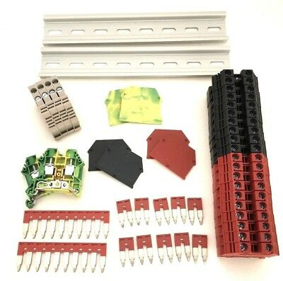 Redblack Din Rail Terminal Block Kit Dinkle 20 Dk6n 8awg 50a 600v Ground Jumper