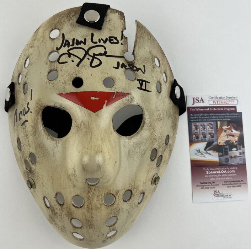 CJ GRAHAM signed JASON VOORHEES MASK Friday the 13th Part VI Jason Lives 6 JSA