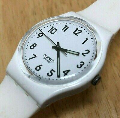 Retro Swatch Swiss 008 Men All White Plastic Analog Quartz Watch Hour~New Batter
