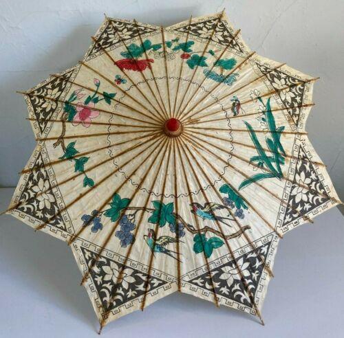Vintage Handpainted Japanese Bamboo Rice Paper Umbrella Parasol Sparrow Flowers