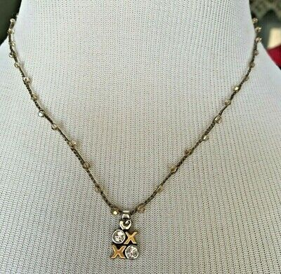 Brighton KARMA Love XOXO PETITE Necklace preowned corded crystal knotted