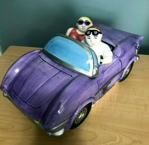 Biscoff Lotus Cookie Jar Chubby Classic Car Unique Corvette Collector purple vtg