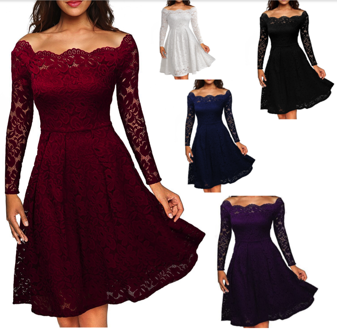 Dress - Women's Vintage Lace Boat Neck Formal Wedding Cocktail Evening Party Swing Dress