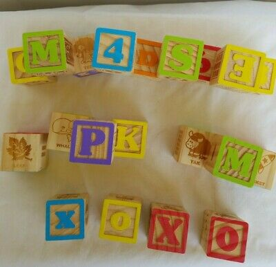 49 Vintage Alphabet Wooden Blocks Numbers ABCs 123s Letters Wood Learning Kids
