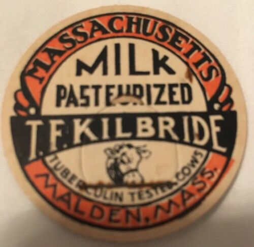 NOS MILK BOTTLE CAP T F KILBRIDE MALDEN MA Massachusetts DAIRY Tuberculin Tested