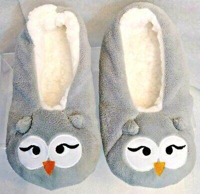 White Owl Girl (Girl's Size 2-3 Gray & White Fleece Owl Ballerina Style Slippers/Soft &)