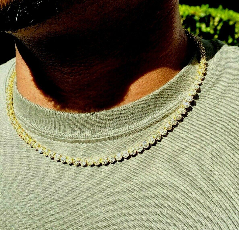 """Men's Women Flower Tennis Link Chain 5mm IceOut 14k Gold Diamond Real 18"""" Choker"""