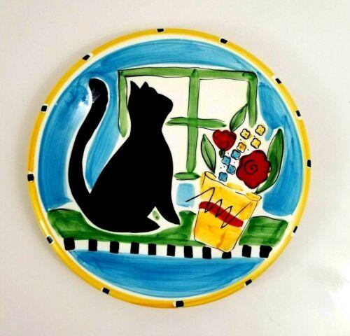 "Hausenware Mary Jane Mitchell Black Cat Decorative Plate 1999 Vintage 10 1/2"""